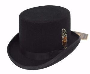 79b0e32cd84 Men s Black Top Hat 100% Wool By Bruno Capelo Great Gatsby Prop ...
