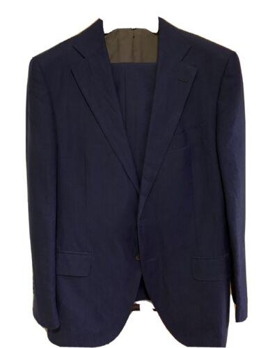Suit Supply 42R Lazio Blue Wool/Linen Suit