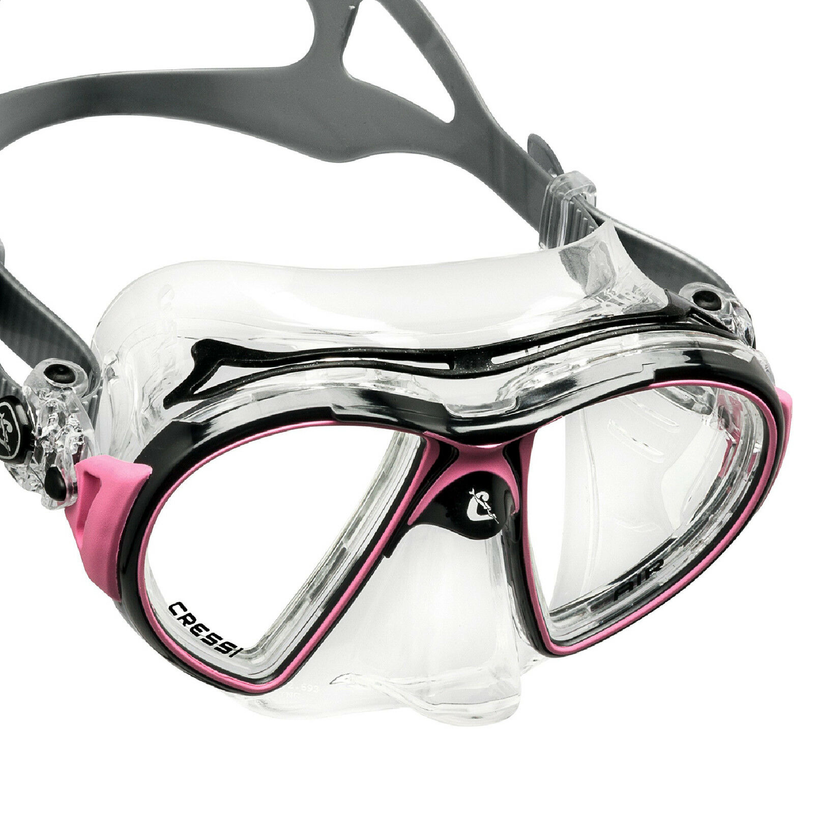 LO3 CRESSI SUB SUPER MASK AIR SILICONE CRYSTAL FRAME PINK