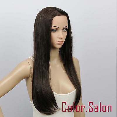 New! Hand-Tied Synthetic Lace Front Wigs Glueless Heat Safe Dark Brown 16#4A