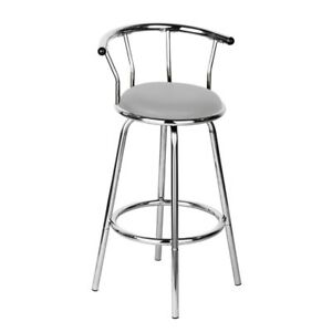 Image Is Loading Revolving Bar Stool Contemporary Grey Padded Seat Cafe