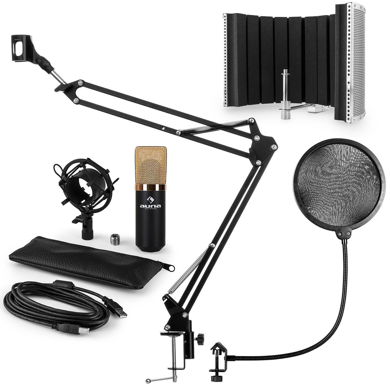 Auna MIC-900BG USB kit micro V5 condensateur filtre anti pop bruit perchette or