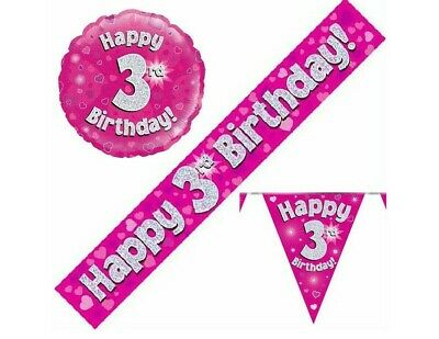 3rd Birthday Pennant Flag Banner Pink and Silver Party Decorations Age 3 Girls