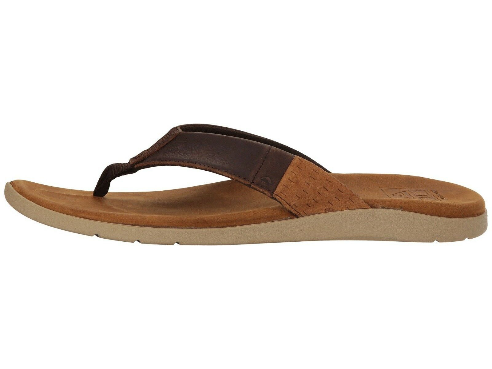 Reef Cushion J Bay Brown Men's Leather Flip Flop Sandals
