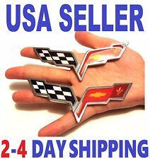 X2 Cross Flags CHEVROLET corvette TRUCK EMBLEM LOGO DECAL SIGN CHROME BADGE .01