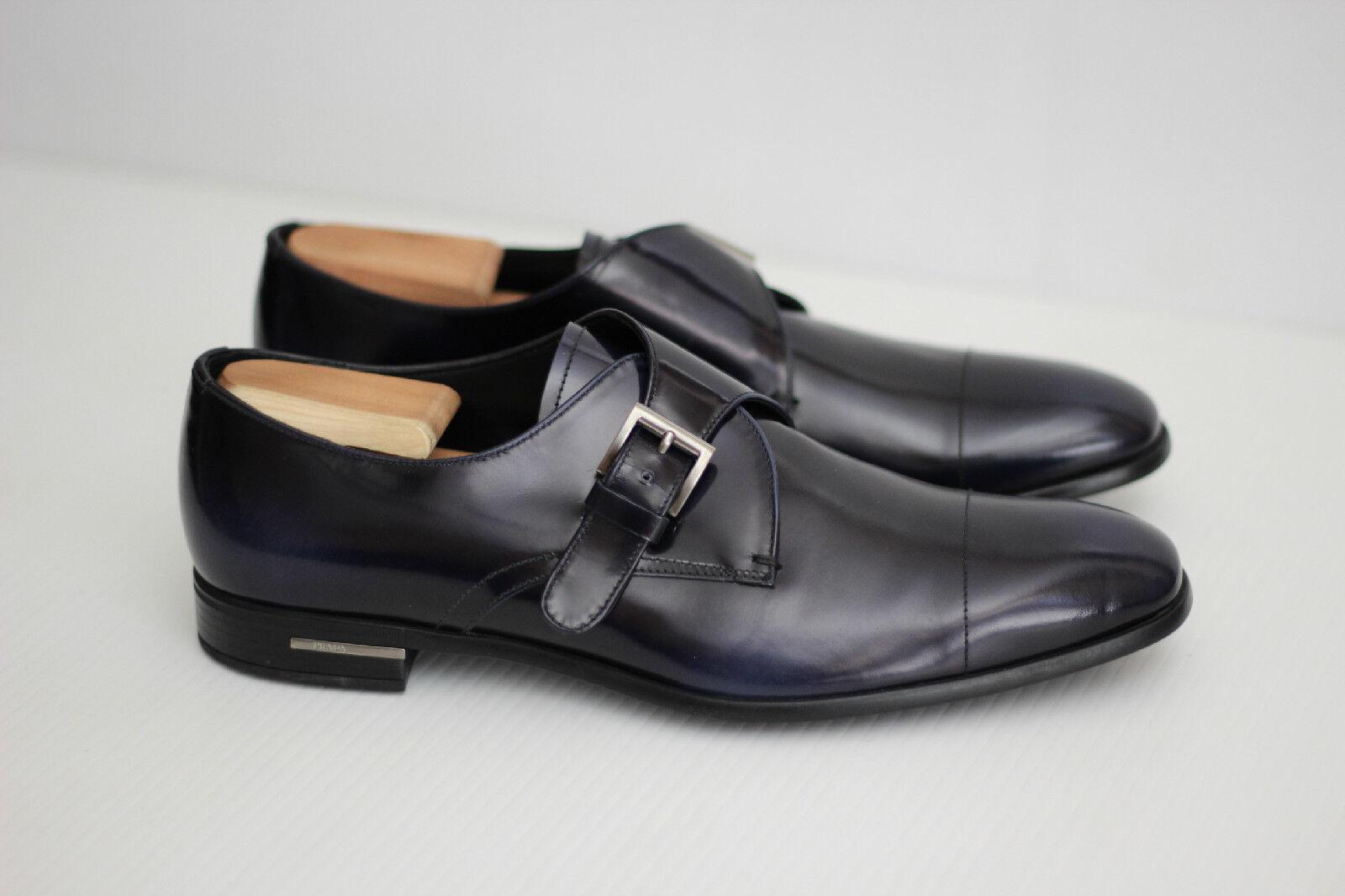 NEW Prada Monk Strap Shoes - Blue Leather - 9.5US / 8.5C016  (U8)