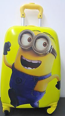 Minion Dave Kids Hard Shell 4 Wheel Travel Luggage Cabin Suitcase Trolley Bag