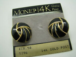 afff4577751ea1 New on Card VINTAGE MONET STUD EARRINGS Black Enamel GOLD TONE Knot ...