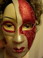 Halloween Phantom Of The Opera Masquerade Mask Adult Size Red Glitter White Nip