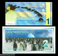Antarctica 1 + 2 Dollars 1996 / 2011 Set of 2 Mint UNC Banknotes 2 PCS