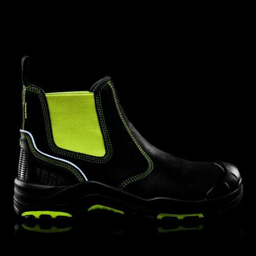 6-13 Buckler BUCKZVIZ Chelsea Dealer Safety Work Boots Fluorescent Yellow