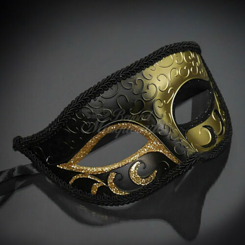 M33143 Black Gold Themed Phantom Mask M6107 His /& Her Couple Masquerade Mask
