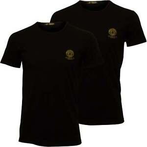 2e8f4c87 Versace 2-Pack Iconic Crew-Neck Stretch Cotton Men's T-Shirts, Black ...