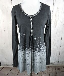 Women-039-s-GILDED-INTENT-Long-Sleeve-Henley-Tunic-Bleached-Knit-Gray-Small-S-BKE