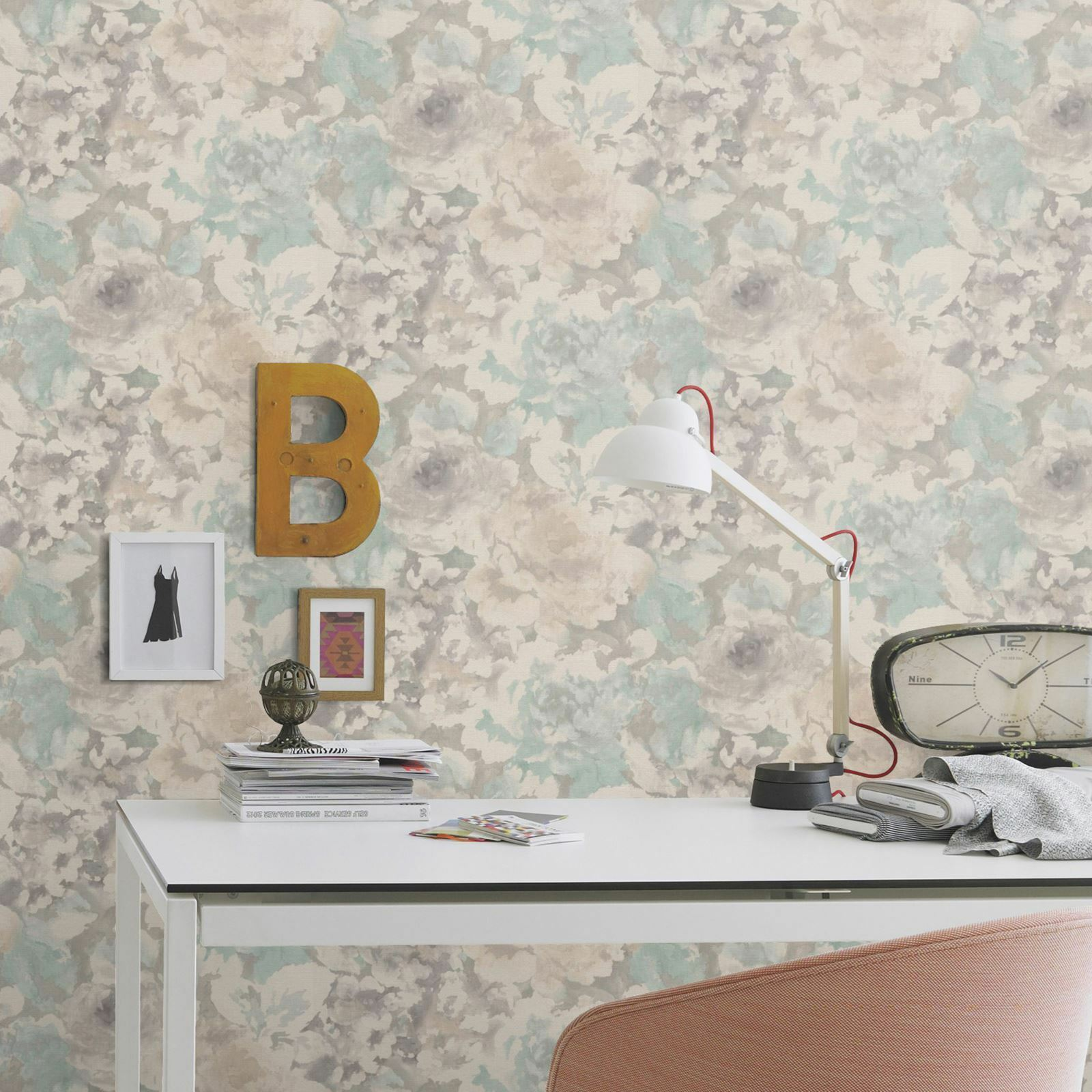 Florentine Floral Fabric Effect Wallpaper Grey And Natural Rasch