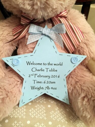 *PERSONALISED BEAR WITH PLAQUE* BIRTH //CHRISTENING//NEW BORN// KEEPSAKE GIFT