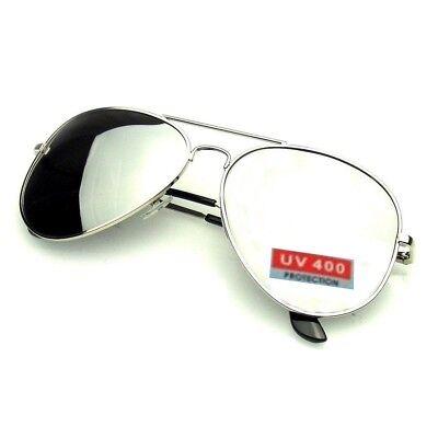 PILOT SUNGLASSES Mens Ladies Vintage Retro Mirrored Reflective Silver UV400