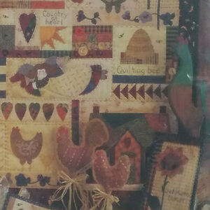 Quilt-Patterns-Fiber-Mosaics-Country-At-Heart-89301-House-Rooster-Wall-Quilts