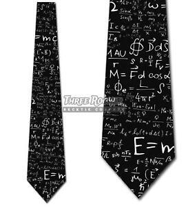 Physics-Equation-Black-Ties-E-MC2-Tie-Men-039-s-Science-Ties-Brand-New