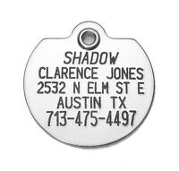 Stainless Steel Pet Id Tag Very Durable, Custom Engraved Personalized Reflective