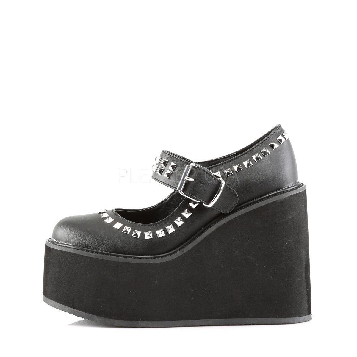 Demonia Swing 03 Ladies Hi Platform Wedge Goth Punk Mery Jane schwarz Schuhes