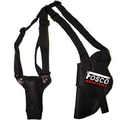 Fondina ascellare deluxe nera Fosco Industries per pistola con porta caricatore