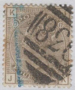 GB-QV-4d-Grey-Brown-SG160-Plate-17-CV-80-Four-Pence-034-JK-034-Used-1880-Stamp