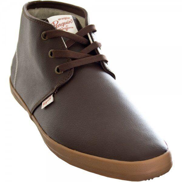Men's Original Penguin Clive Hi Casual shoes Boot Trainers Brown Bargain