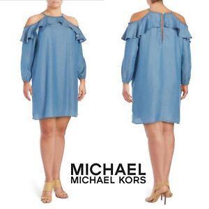 Details about MICHAEL Michael Kors Cold Shoulder Ruffled Chambray Dress  Denim Plus Size 1X