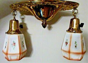 Antique Art Deco 2 bras de lumière lustre encastré plafond luminaire laiton-restauré