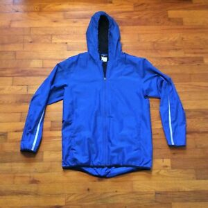 Blue-Nike-Men-039-s-Windbreaker-Hooded-Jacket-Full-Zip-Nylon-Mesh-Lining-size-Medium