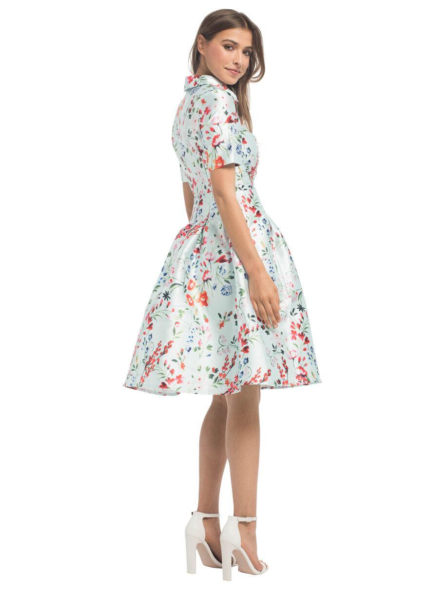 Chi Chi London Flora Print collarot Midi Dress     12    Blau Multicolourot