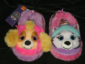 KIDS GIRLS BOYS OFFICIAL PAW PATROL 3D SLIPPERS PLUSH PINK RED DASH SKYE