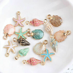 13-Pcs-Set-Mixed-Metal-Starfish-Conch-Shell-Charms-Pendant-DIY-Jewelry-Making