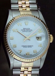 ROLEX-Mens-18kt-Gold-amp-Stainless-DateJust-White-Arabic-Dial-16233-SANT-BLANC