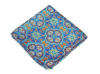 Lord R Colton Masterworks Pocket Square $75 Retail New Orange Tapestry Silk