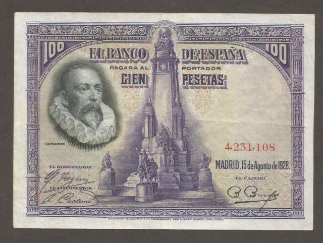 Spain 100 Pesetas 15.8.1928; VF+; P-76a; Writer, Monument; Don Quijote