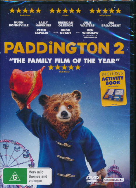Paddington 2 DVD NEW Region 2 and 4 free activity book