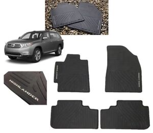 2008 2013 Highlander Floor Mats All Weather Mats Black 4pc Toyota