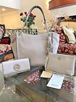 Nwt,michael Kors Chelsea Leather Large Chain Handbag+wallet+travel Case$800
