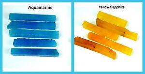 Yellow Sapphire & Aquamarine 600 Ct 10 Pcs Natural Gemstone Slice Rough Lot