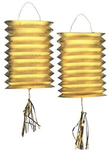 METALLICO-Lanterne-set-Oro-NUOVO-Articoli-da-festa-decorazione