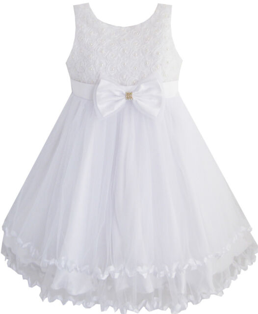 Girls Dress White Pearl Tulle Layers Wedding Pageant Flower Girl Kids SZ 2-10