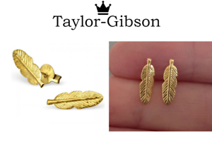13cec6e37e706 Details about Gold Feather Earrings Studs Gold 925 Sterling Silver