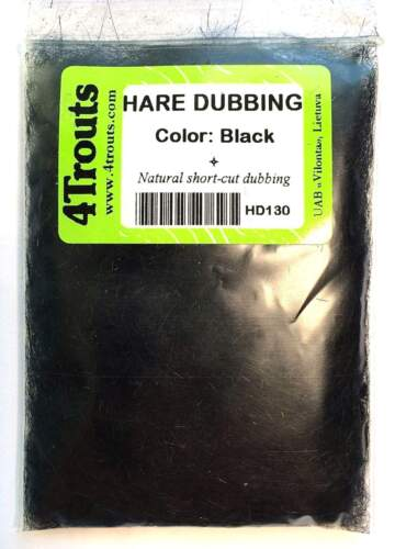 100/% HARE DUBBING 4Trouts BLACK COLOR for fly tying nymph and wet flies SALE