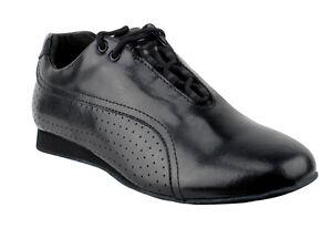 Women Salsera Bachata Ballroom Black Leather Dance Shoes Women size 12 Men 10.5