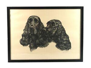 Vintage-Signed-Ernest-Hart-Portrait-of-Dogs-Lithograph-Print-Cocker-Spaniels