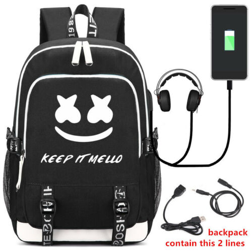 DJ Marshmello Backpack USB Students School Bag Travel Bag Shouder Bag Ruckpacks