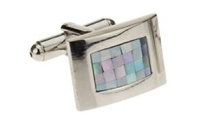 Mother-Of-Pearl-Mosaic-Mens-Cufflinks-Stainless-Steel-Gift-Box-Quality-Cuff-Link