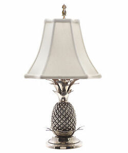 LAMPS - WILLIAMSBURG PINEAPPLE TABLE LAMP - PEWTER FINISH WITH OFF WHITE SHADE